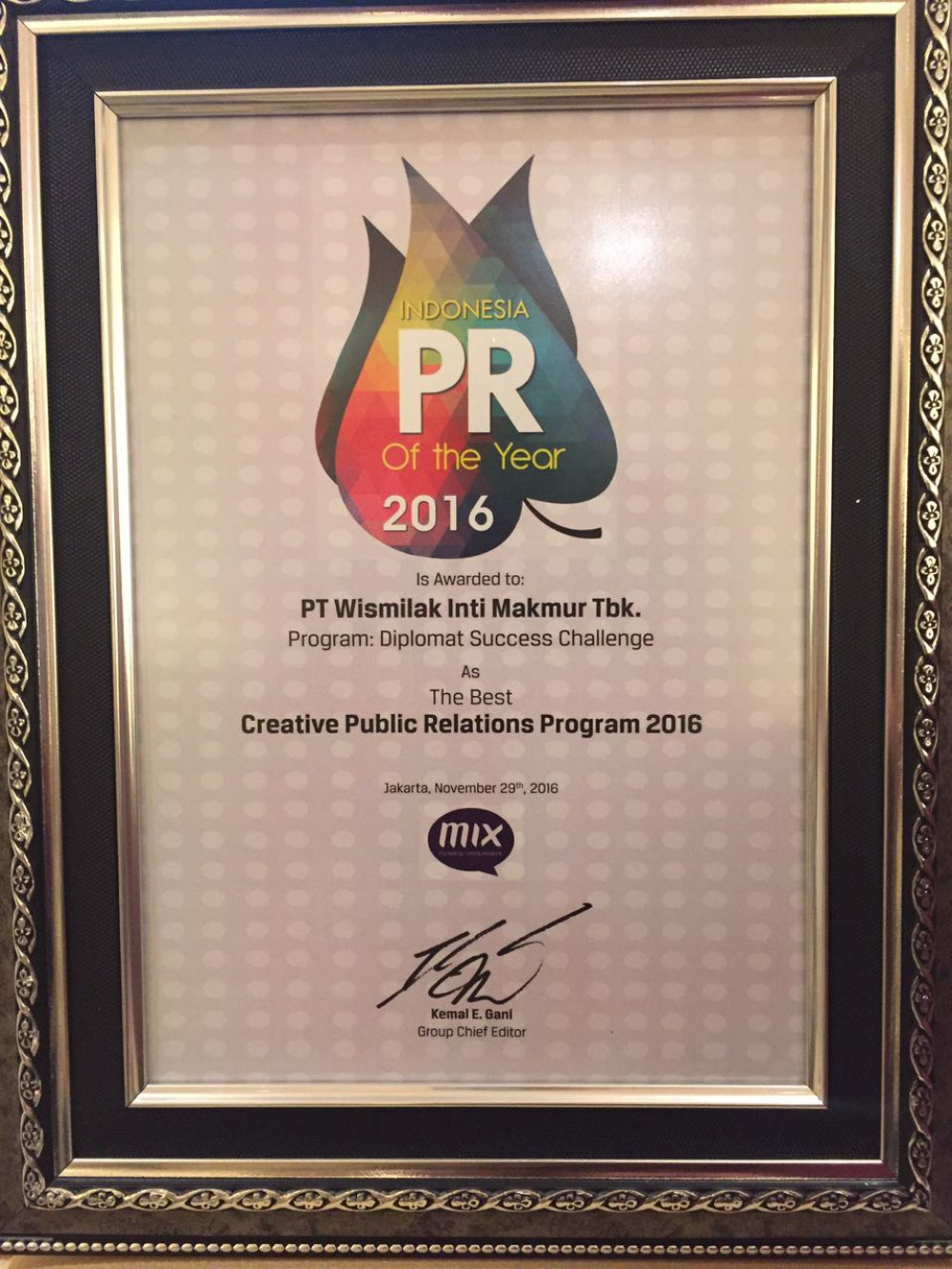 Wismilak Diplomat Success Challenge Dianugerahi The Best Creative Public Relations Program 2016