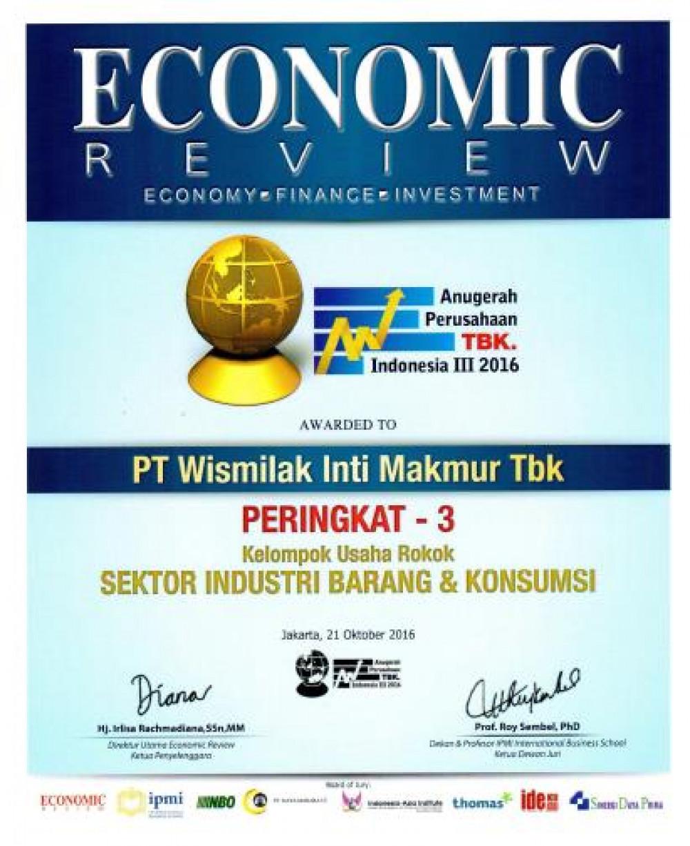 Wismilak Raih Peringkat 3 Anugerah Perusahaan Terbuka Indonesia 2016