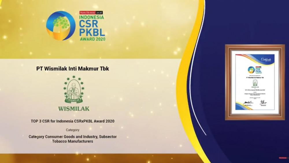 Wismilak Raih Penghargaan CSR PKBL Award 2020 Warta Ekonomi
